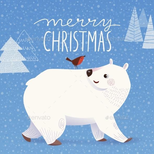 Winter Christmas Greeting Card with Cartoon Polar