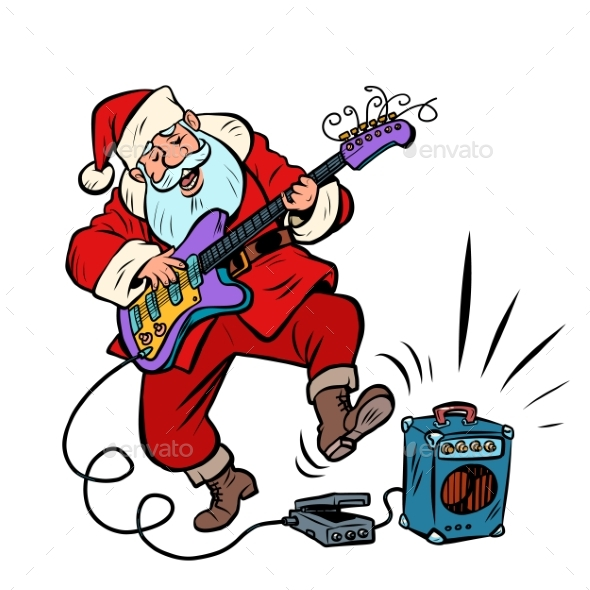 Playing the Electric Guitar Santa Claus Character