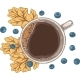 Cup of Coffee Autumn Leaves and Berries - GraphicRiver Item for Sale