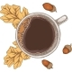 Cup of Coffee Autumn Leaves and Acorn - GraphicRiver Item for Sale