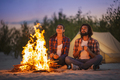 Couple Camping Near Campfire - PhotoDune Item for Sale