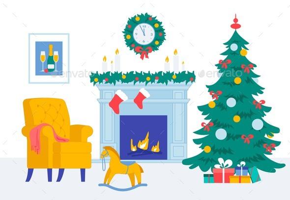 Cozy Living Room New Year Christmas Eve Interior