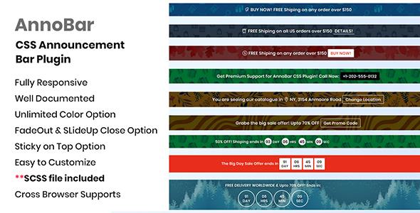 AnnoBar - CSS Announcement Bar Plugin Download