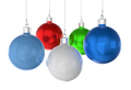 Christmas balls of different colors on a white background. - PhotoDune Item for Sale