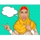 Arabic Woman in Hijab Pointing Fingers - GraphicRiver Item for Sale