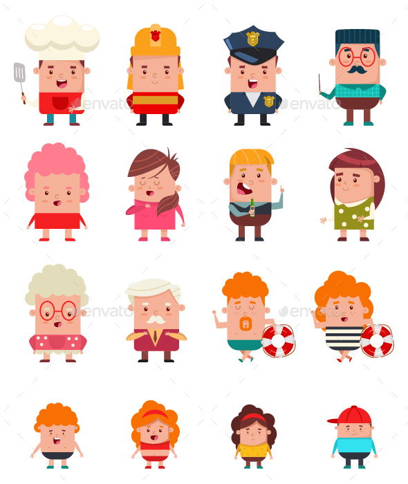 People Occupation Characters Vector Cartoon Set.