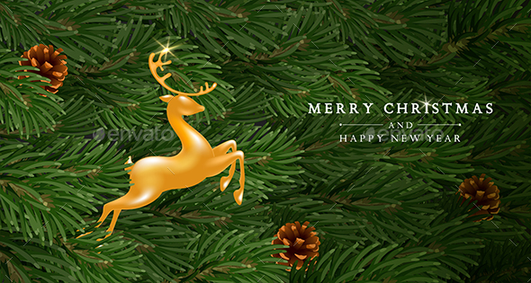 Christmas And New Year Greeting With Golden Deer