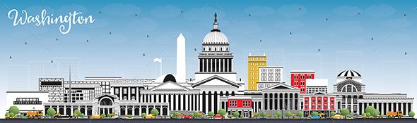 Washington DC USA City Skyline with Gray Buildings and Blue Sky