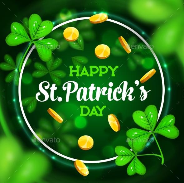 St Patrick Day Shamrock and Leprechaun Gold Coins