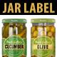 Jar Label Design (PICKLED CUCUMBER & OLIVE) - GraphicRiver Item for Sale