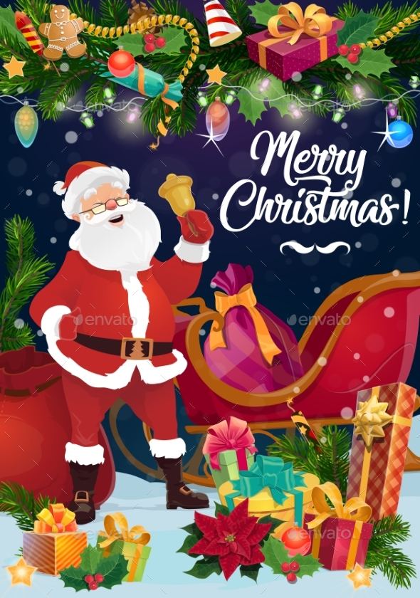 Santa with Christmas Sleigh, Xmas Bell and Gifts