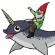 A Gnome Riding a Narwhal - GraphicRiver Item for Sale