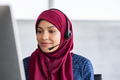 Islamic woman with hijab in call center - PhotoDune Item for Sale
