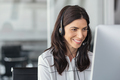 Smiling latin woman in call center - PhotoDune Item for Sale