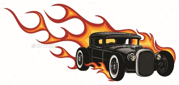 Vector Muscle Car with Flames Crazy Race