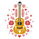 Guitar Flat Hand Drawn in Ethnic Style - GraphicRiver Item for Sale
