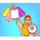 Arabic Woman with Loud Speaker and Shopping Bags - GraphicRiver Item for Sale