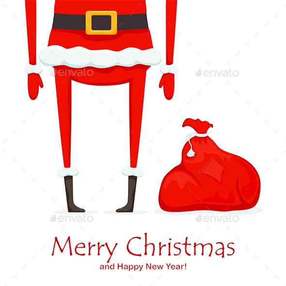 Legs of Santa and Red Christmas Sack