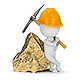 3D Small People - Miner Next to a Big Gold Nugget - GraphicRiver Item for Sale