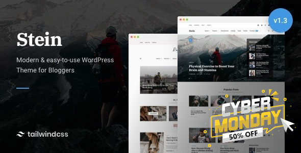 Stein ~ TailwindCSS WordPress Theme for Bloggers
