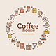 Coffee House Signs Round Design Template Thin Line Icon Concept Vector - GraphicRiver Item for Sale