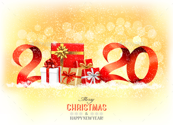 2020 New Years Background with Gift Boxes and Red Ribbons