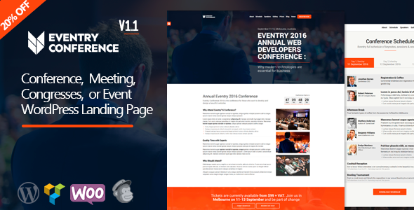 Eventry - Conference Meetup Landing Page WordPress Theme