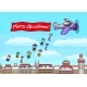 Santa Claus Flies on a Plane Over the City and - GraphicRiver Item for Sale