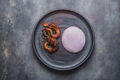 Grilled octopus tentacles with violet potato puree, reastaurant dish - PhotoDune Item for Sale