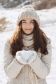 Snow Heart in Hands of a Woman - PhotoDune Item for Sale