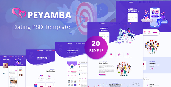 Peyamba - Dating Website PSD Template