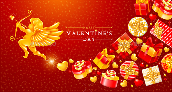 Valentines Day Greeting Card With Cupid and Gift Boxes