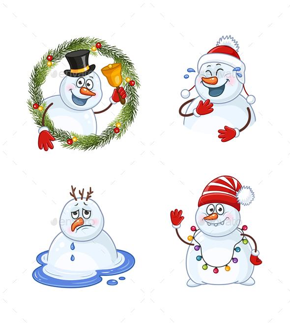 Snowman Christmas Illustrations Set
