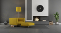 Gray and yellow modern living room with fireplace - PhotoDune Item for Sale