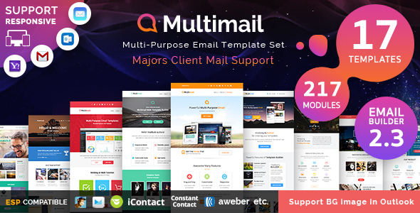 Multimail | Responsive Email Set + Template builder