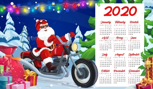 New Year Calendar of Santa, Xmas Gifts, Motorcycle