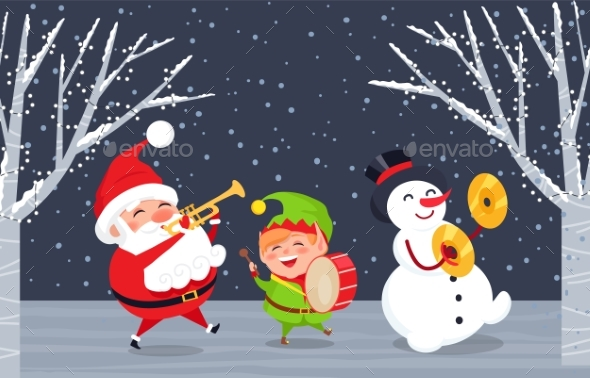Winter Characters Santa, Elf and Snowman In Wood