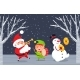 Winter Characters Santa, Elf and Snowman In Wood - GraphicRiver Item for Sale