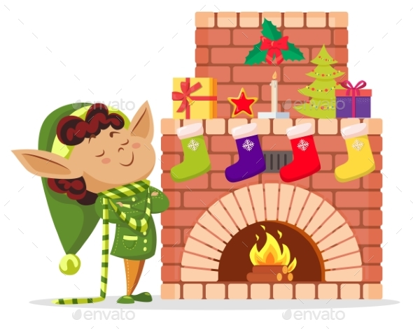 Elf Boy in House, Socks with Gifts on Fireplace