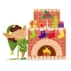 Elf Boy in House, Socks with Gifts on Fireplace - GraphicRiver Item for Sale
