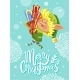 Merry Christmas Greeting Card with Elf and Gifts - GraphicRiver Item for Sale