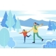 Mom and Daughter Figure Skating on Rink Together - GraphicRiver Item for Sale