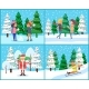People in Winter Park, Landscape with Snowfall - GraphicRiver Item for Sale