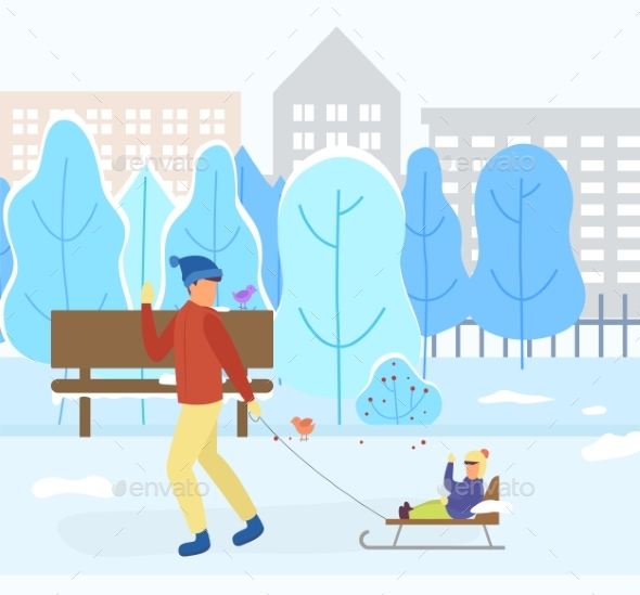 Dad and Kid on Sleds in Park, Winter Cityscape
