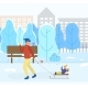Dad and Kid on Sleds in Park, Winter Cityscape - GraphicRiver Item for Sale