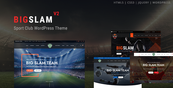 BigSlam Sport Clubs - Soccer WordPress