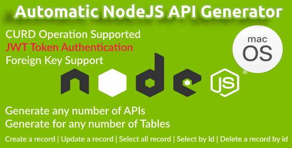 Automatic NodeJS API Generator + Postman API Doc Generator : MacOS Version