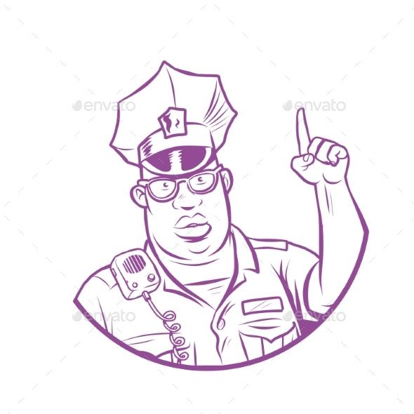 Police Index Finger Up