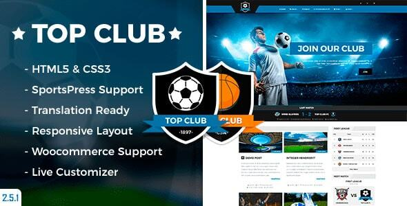 Top Club - Sports Theme for WordPress