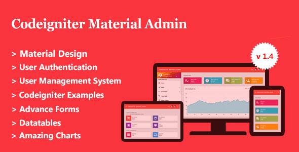 Codeigniter Material Admin + User Management System